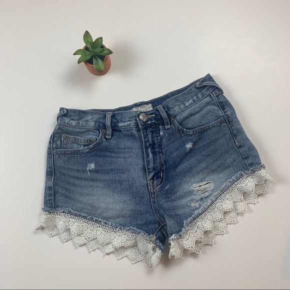 Free People Pants - Free People Lace Trimmed Shorts